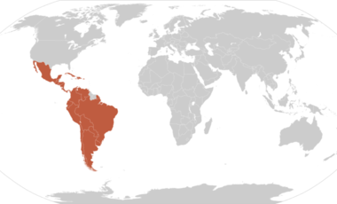 World map with Latin America highlighted