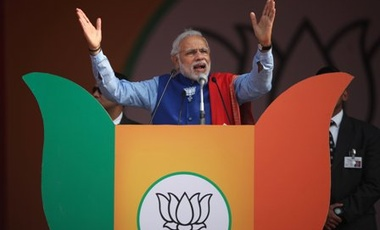 Indian Prime Minister Narendra Modi addresses a public rally New Delhi, India, Saturday, Jan. 10, 2015. The rally is meant to kickstart his Bharatiya Janata Party's campaign for the upcoming Delhi polls, expected to be held in February.