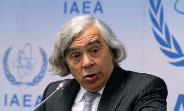 US Secretary of Energy Ernest Moniz addresses the media during the general conference of the International Atomic Energy Agency.