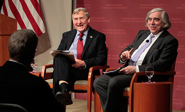 Secretary of Energy Ernest Moniz (right) answers a question from the audience at the Harvard Kennedy School JFK Jr. Forum following his Robert McNamara Lecture on War and Peace. The event was moderated by Graham Allison.