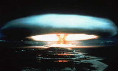 1971 file photo of a nuclear bomb detonated at the Mururoa atoll, French Polynesia.