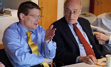 Former Deputy CIA Director and Center senior fellow Michael Morell (left) responds to a point by Joseph Nye during Morell's presentation to the Belfer Center Board of Directors on intelligence issues.