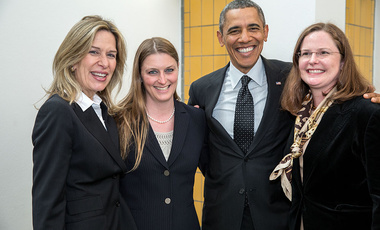 President Barack Obama in The Hague with his U.S. Nuclear Security Summit planning team (from left): Sherpa Elizabeth Sherwood-Randall, Melissa Krupa, and Sous-Sherpa Laura Holgate. Sherwood-Randall and Holgate are Belfer Center alumnae.