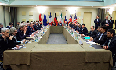American, British, Russian, German, French, Chinese, and Iranian diplomats meet to discuss a comprehensive agreement on the Iranian nuclear program.