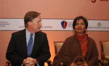 Affairs of State: Ambassador Nicholas Burns, director of the Belfer Center's Future of Diplomacy project and director of Aspen Strategy Group, with Indian Foreign Secretary Nirupama Rao at an event in New Delhi.