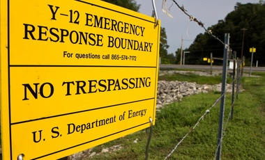 A sign warns against trespassing onto the Y-12 National Security Complex in Oak Ridge, Tennessee, August, 17, 2012.