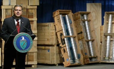 Secretary of Energy Spencer Abraham speaks next to nuclear weapons and components removed from Libya, March 2004, Oak Ridge, Tenn.
