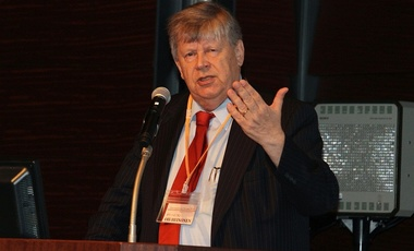 Olli Heinonen delivering the keynote address at the 2014 JAEA International Forum, Tokyo, 3 Dec. 2014.