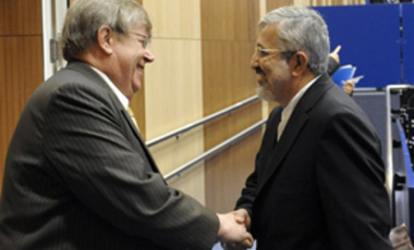 Iran's Ambassador to the International Atomic Energy Agency, IAEA, Ali Asghar Soltanieh, right, with Olli Heinonen, IAEA Deputy Director General and Head of the Department of Safeguards prior to the IAEA's board of governors meeting June 8, 2010.