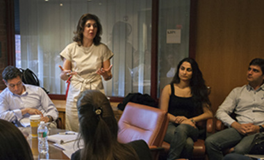 "Farah Pandith discusses ""The Awakening of Muslim Democracy: Religion, Modernity, and the State"" with Kennedy School students, fellows, and faculty."