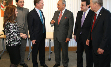 Saudi Standpoint: (left to right) the Belfer Center's Hilary Rantisi, Nawaf Obaid, Nicholas Burns, Prince Turki Al Faisal, Prince Mohammed bin Nawaf, and Belfer Director Graham Allison.
