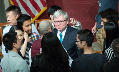 Students and others who attended the JFK Jr. Forum on U.S.-China relations talk with former Prime Minister Kevin Rudd about his report, U.S.-China 21: The Future of U.S.-China Relations under Xi Jinping.