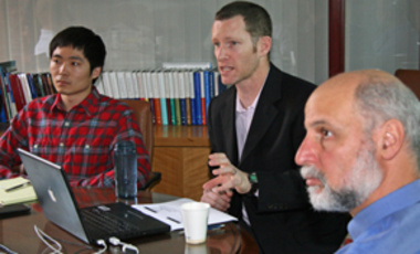 Robert L. Brown, Stanton Nuclear Security Junior Faculty Fellow with the Project on Managing the Atom/International Security Program discusses the IAEA. MTA Executive Director Martin Mail (right) and ISP/MTA fellow Sungyeol Choi took part.