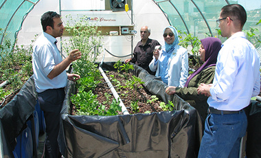 Afreen Siddiqi (3rd from left) visits a self-contained solar/hydroponic system in Jordan.
