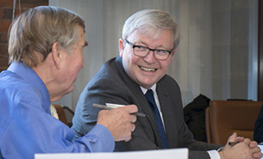 Kevin Rudd (right), former prime minister of Australia, shares a light moment with Belfer Center Director Graham Allison during Rudd's presentation to the Center's China Working Group on his report findings.