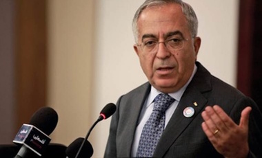Salam Fayyad speaking at an event in the West Bank.