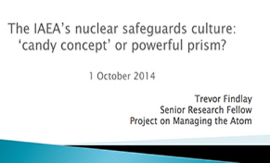 The IAEA's Nuclear Safeguards Culture: 'Candy Concept' or Powerful Prism?