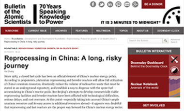 Reprocessing in China: A Long, Risky Journey