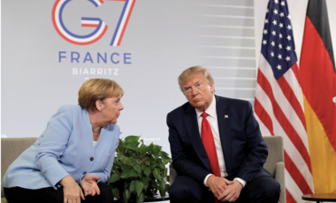 Trump and Merkel in Biarritz, France, August 2019