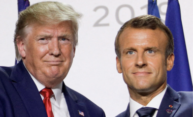 President Trump with French President Emmanuel Macron at a press conference during the G7 summit France in 2019.