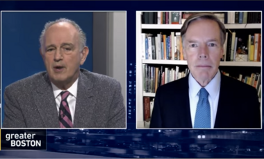 Jim Braude (left) interviews Nicholas Burns (right)