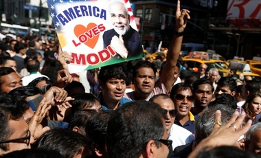 Supporters of Prime Minister Narendra Modi of India crowd the streets outside Madison Square Garden after Modi gave a speech there during a reception by the Indian community in honor of his visit to the United States, Sunday, Sept. 28, 2014, in New York.