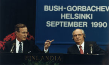U.S. President George H. W. Bush and Soviet President Mikhail Gorbachev hold a press conference at the Helsinki Summit, Finland on September 9, 1990.