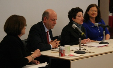 Cristine Russell, Peter Frumhoff, Naomi Oreskes, and Suzanne Goldenberg at the February 13 panel discussion.