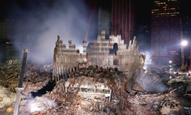 The remains of the Twin Towers on September 11, 2001