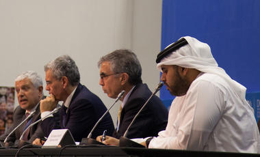 Robert Stavins (2nd from right), director of the Harvard Project on Climate Agreements, participates in a panel discussion with Chairman Fahad Al-Attiya of the Qatar National Food Security Program in Doha.