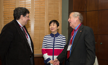 Li Xiaolin (center), president of the Chinese People's Association for Friendship with Foreign Countries, with Ash Center director Tony Saich (left) and Belfer Center Director Graham Allison prior to the conference the co-sponsored on China-U.S. Relations