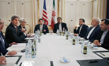 U.S. Secretary of Energy Ernest Moniz and U.S. Secretary of State John Kerry attend a meeting with Iranian Foreign Minister Mohammad Javad Zarif, June 28, 2015.
