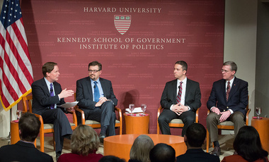 "Nicholas Burns (left), director of the Center's Future of Diplomacy Project, moderates a JKF Jr. Forum on ""Crisis in Ukraine: How Should U.S. and Europe Respond?"""