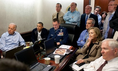 President Barack Obama and his national security team watching the Abbottabad raid from the White House on May 2, 2011 (White House photo)