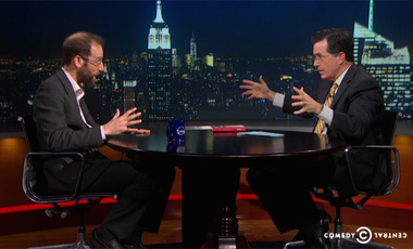 David Keith, on The Colbert Report, discusses climate engineering with a skeptical Stephen Colbert (December 2013).