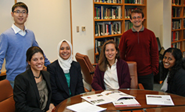 The Water/Energy Nexus team (from left): Chao Zhang (standing), Laura Diaz-Anadon, Afreen Siddiqi, Meagan Mauter, Scott Moore, and Arani Kajenthira. Not pictured: Jade Salhab, Sarah Jordaan, and Erik Mielke.