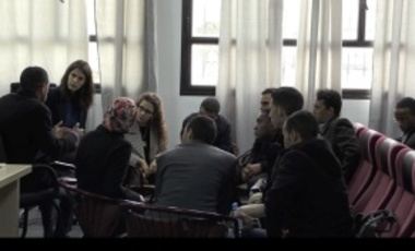 Harvard students participating in the winter field study course meet with Moroccan students at Hassan II University in Casablanca.