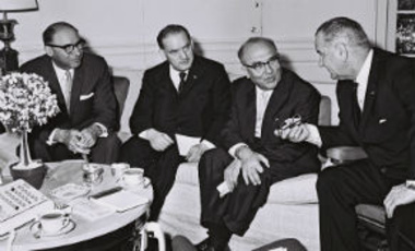Israeli Prime Minister Eshkol in conversation with President Lyndon Johnson at the White House in Washington, D.C.