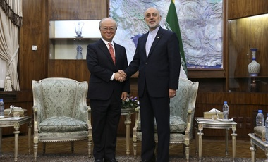 Head of Iran's Atomic Energy Organization, Ali Akbar Salehi, shakes hands with Director General of the IAEA, Yukiya Amano, during their meeting in Tehran, Sept. 20, 2015.