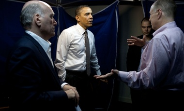President Barack Obama confers with National Security Advisor Tom Donilon, right, Chief of Staff Bill Daley, left, and Ben Rhodes, Deputy National Security Advisor for Strategic Communications in El Salvador in March 2011 (White House)