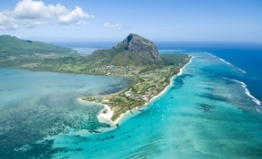 Aerial view of Mauritius. Mauritius has launched a research program to position itself as hub for using Africa's indigenous knowledge and biological resources to develop new bioproducts etc. for the global market.
