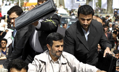 Iranian President Mahmoud Ahmadinejad arriving at Oroumiyeh, 900 km NW of  Tehran, Apr. 7, 2010. He ridiculed President Barack Obama's new nuclear strategy, which aims to stop the spread of nuclear weapons to rogue states or terrorists.
