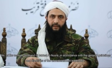 Abu Muhammad al-Jawlani, leader of Jabhat al-Nusra, announces the group's re-branding and name change to Jabhat Fath al-Sham and separation from Al-Qaeda in July 2016.