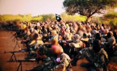 Al-Shabab fighters at a military training camp in Somalia.