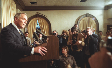Al Haig, former Secretary of State, speaks to the press about President Ronald Reagan's condition after being shot on March 30, 1981.