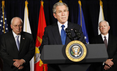President Bush, flanked by Vice President Dick Cheney and Defense Secretary Robert Gates, speaks at the Pentagon on Nov. 29, 2007.