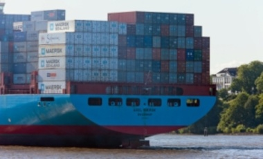 The Axel Maersk, a container ship, leaves Hamburg, Germany, filled with export goods, June 13, 2009. Maersk is the largest container ship operator and supply vessel operator in the world since 1996.