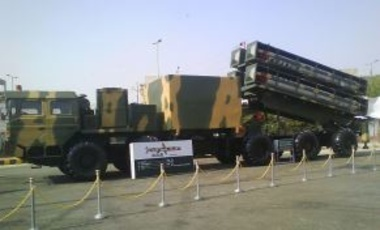A transporter erector launcher (TEL), carrying four Babur cruise missiles, on display at the IDEAS 2008 defence exhibition, Karachi, Pakistan.