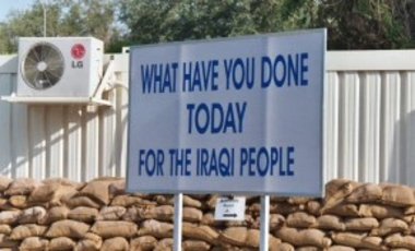 Sign in the Green Zone in Baghdad, Iraq (April 2004).