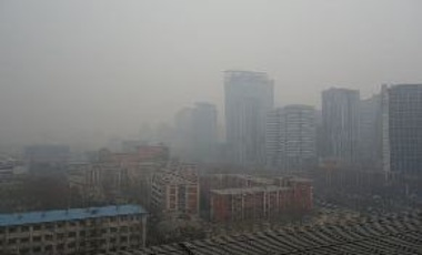 Air pollution in Beijing, China, Feb. 22, 2014. U.S. dependence on coal is decreasing; China continues to rely on coal, but is very concerned about this dependence, partly because of the health impacts  of particulates and other pollutants.